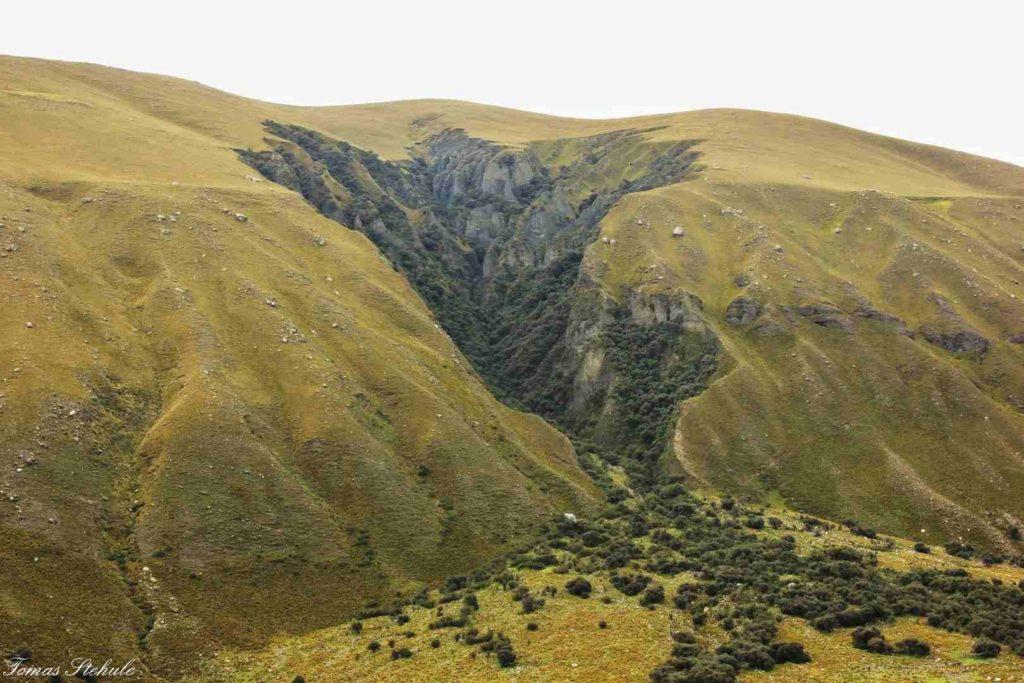 Skalní útvar, svým tvarem připomínající mapu Peru. Foto: T. Stěhule